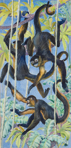 Charles Frederick Tunnicliffe R.A. (British, 1901-1979) Spider monkeys