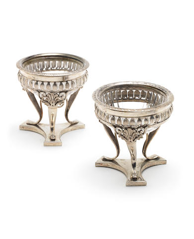 A pair of 19th century Italian silver salts circa 1815, together with a two-bottle oil and vinegar frame, apparently unmarked, possibly early 19th century Italian