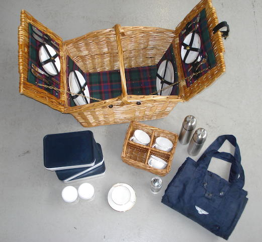A Bentley four-person wicker picnic hamper, by Gadsby & Co,