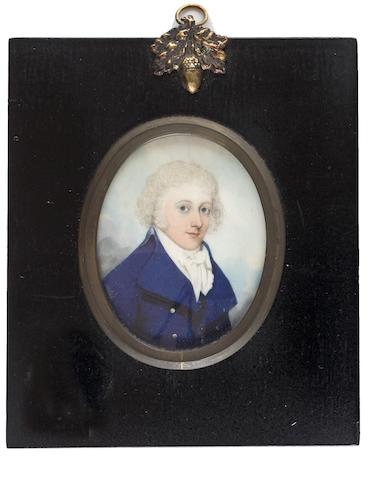 Frederick Buck (Irish, 1771-circa 1840) A Gentleman, wearing blue double breasted coat, white waistcoat, frilled chemise, stock and tied cravat, his hair powdered