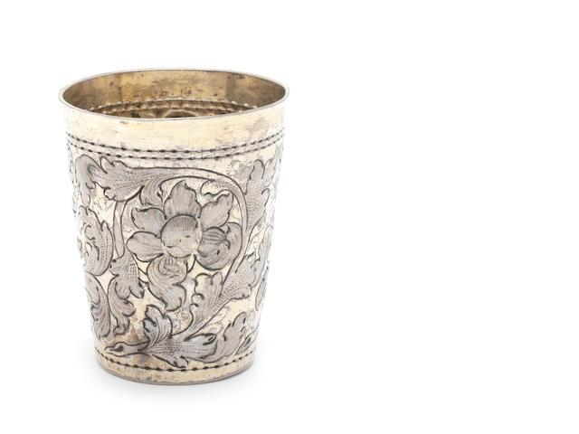 A late 17th/early 18th century unmarked silver-gilt beaker probably Hungarian circa 170o