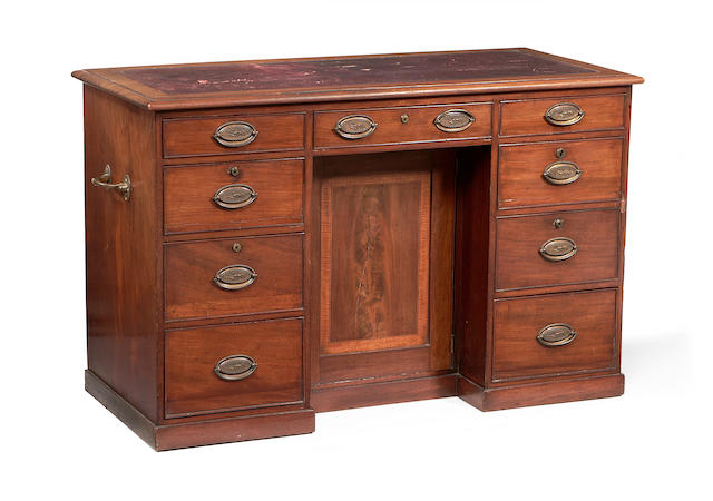 A late George III mahogany kneehole Estate writing desk,