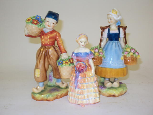 A pair of Royal Worcester figures of Dutch children