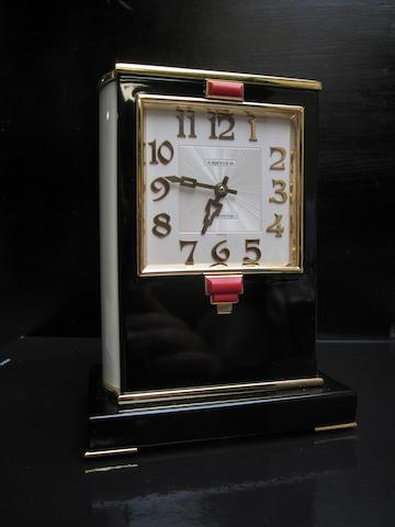A second quarter of the  20th century French coral mounted lacquer mantel timepiece Cartier, No.G70 2038 for the European Watch and Clock Co Inc