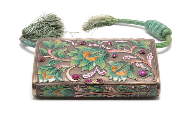 A vari-coloured cloisonné enamelled cigar case of large size with pseudo Russian marks