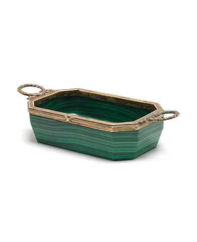 A malachite and gilt whitemetal two-handled dish,