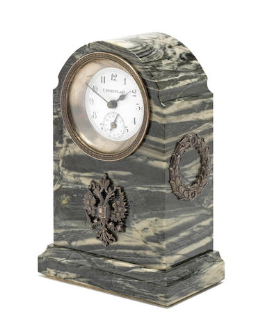 A late 19th century/early 20th century Russian verde antico marble mounted alarm clock by Henrich Moser and Co, Moscow, circa 1900, with later additions and pseudo marks
