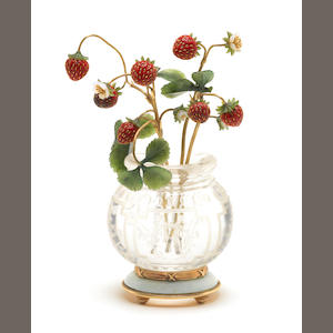 A hardstone model of a vase of strawberries the mounts bearing pseudo Russian marks