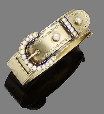 A seed pearl and enamel bangle,