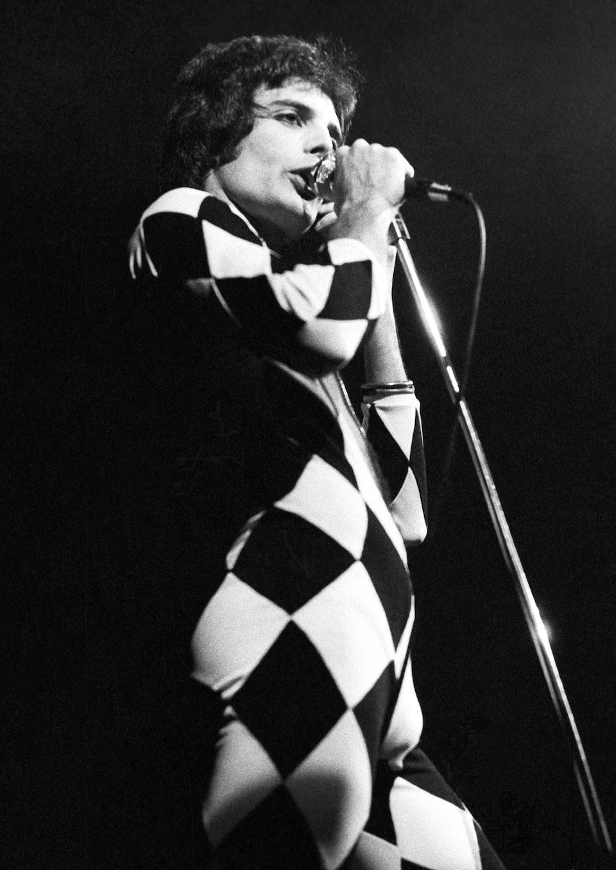 Freddie Mercury's black and white harlequin stage costume, 1970s,