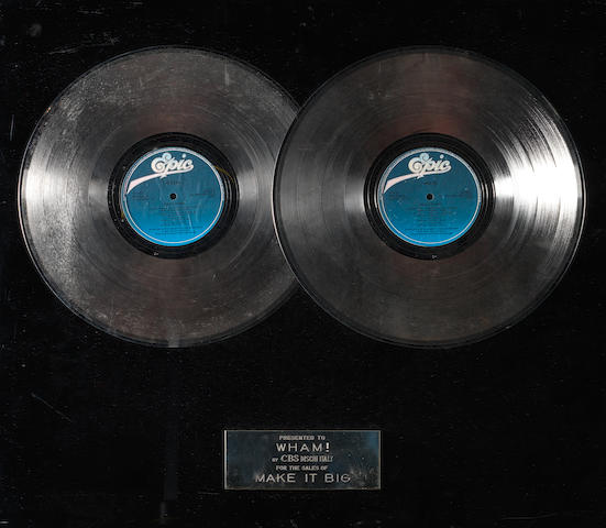 Wham!: An Italian in-house CBS double 'Platinum' award for the album 'Make It Big', presented to Andrew Ridgeley,