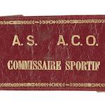 Earl Howe's Automobile Club de L'Ouest 'Commissaire Sportif' leather armband,