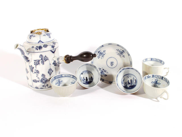 A group of Meissen teawares with celadon and 'Batavian' glazes, mid 18th century