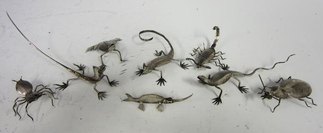 A white metal set of eight Anglo-Indian insect and reptile menu holders   (8)