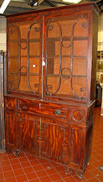 A late George III mahogany secretaire bookcase