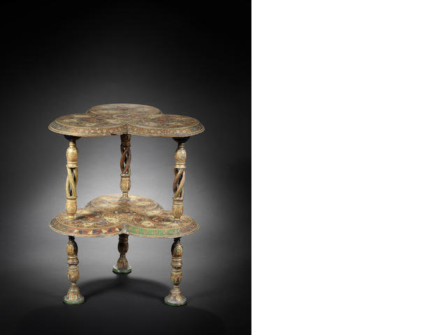 A lacquered wood two-tier Table  Kashmir, circa 1880
