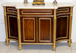 A good pair of reproduction Regency style rosewood parcel gilt and marble topped side cabinets