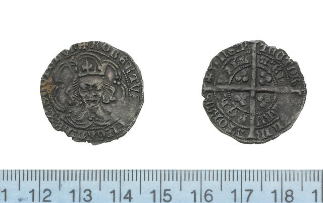 Scotland, Robert III, 1390-1406, Heavy coinage, 1390-1403, Groat, Edinburgh, rough tall facing bust, three large pellets at cusps of tressure of seven arcs,