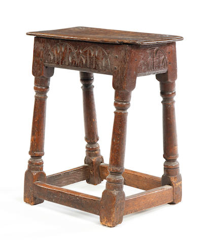 A mid-17th century oak joint stool