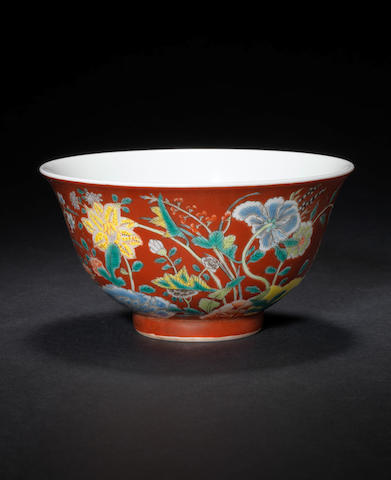 A coral-ground bowl  Kangxi four-character mark