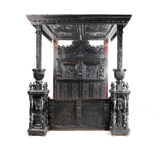 An oak tester bed Constructed in the 19th century incorporating mid-17th century parts, probably Bradford/Halifax area, Yorkshire, circa 1650, other elements possibly earlier
