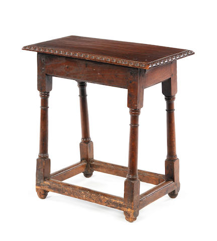 An oak joint stool Circa 1700 and later