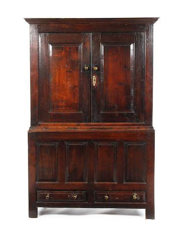 An early 18th century oak press cupboard, North Wales