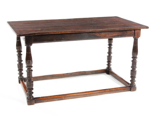 An oak centre table17th century with 19th century restorations