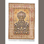A silk Hereke prayer rug, West Anatolia, 180cm x 131cm signed