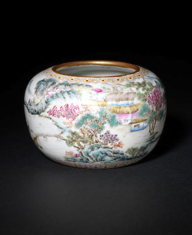 An elegant famille rose oviform bowl