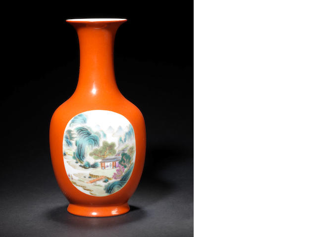 A copper-red ground, famille rose vase Qianlong six-character mark