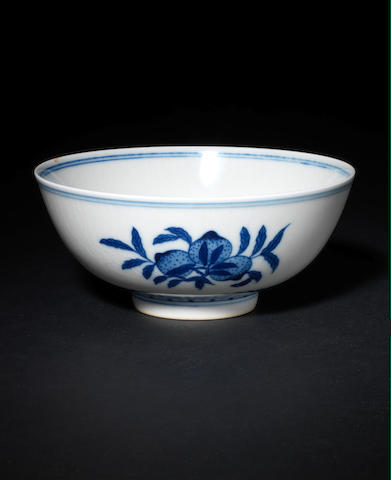 A blue and white bowl, and a famille rose saucer dish The bowl, Qianlong six-character mark