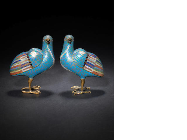 A pair of cloisonne enamel figures of game birds Qing Dynasty or later