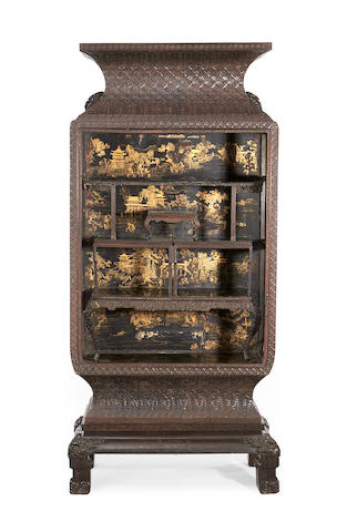 A Chinese 19th century hardwood and gilt decorated black lacquer display cabinet