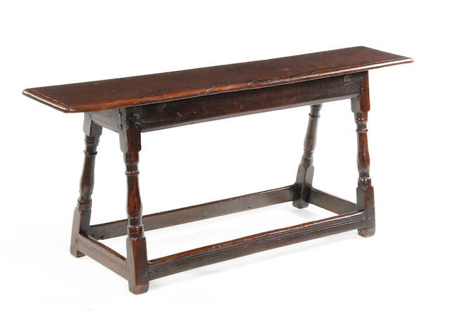 A Charles II oak long joint stool or benchCirca 1670-80