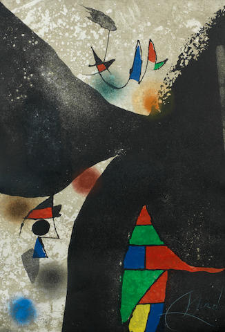 Joan Miró (Spanish, 1893-1983) Gaudi II (Dupin 1061) Etching with aquatint printed in colours, 1979, on wove, signed in white crayon, numbered 17/50 in pencil, printed by Joan Barbara, Barcelona, published by Maeght, Barcelona, 570 x 385mm (22 1/2 x 15 1/4in) (SH)