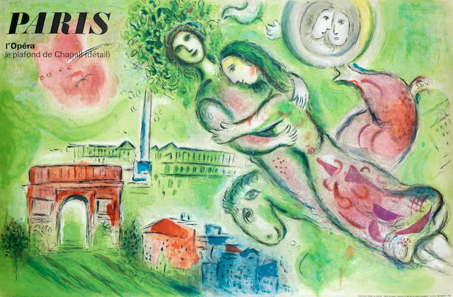 Marc Chagall (Russian/French, 1887-1985) Paris l'Opera (Sorlier 115) Lithograph printed in colours, 1964, on wove, from an edition of 5000, with full margins, 635 x 990mm (25 x 39in) (SH) (unframed)
