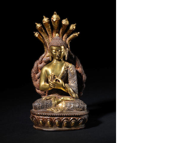 A gilded metal figure of Sakyamuni, The Historical Buddha