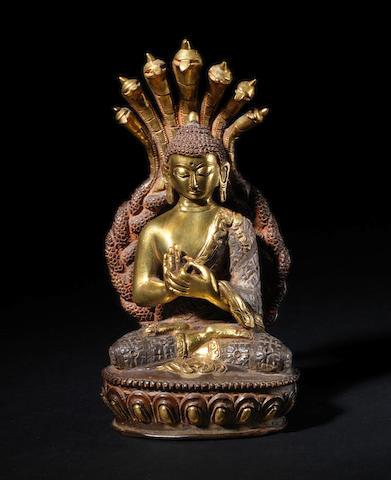 A gilded metal figure of Sakyamuni, The Historical Buddha