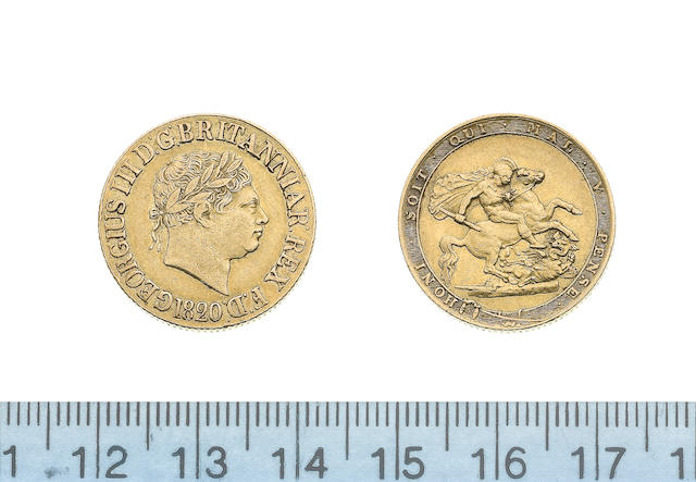 George III, Sovereign, 1820, laureate head right,