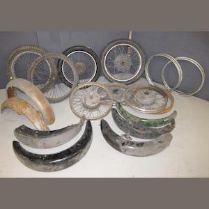 Assorted wheels and mudguards,
