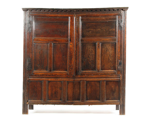 A late 17th century oak press cupboard
