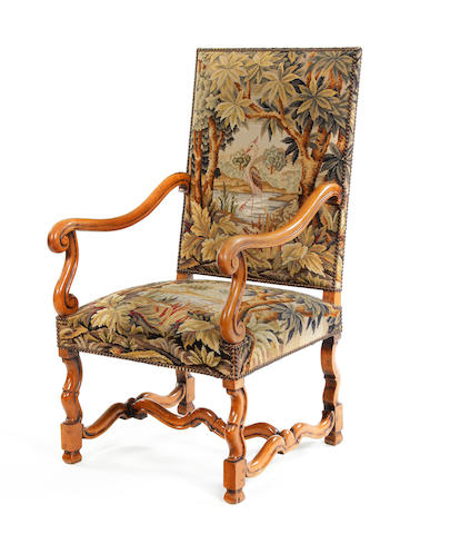 A beech framed and needle-work upholstered open armchair French, 19th century