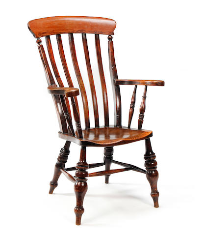 A beech and elm lathe-back Windsor chair Circa 1900, South West, possibly Bristol
