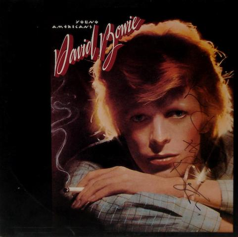 An autographed copy of the album 'Young Americans' by David Bowie,