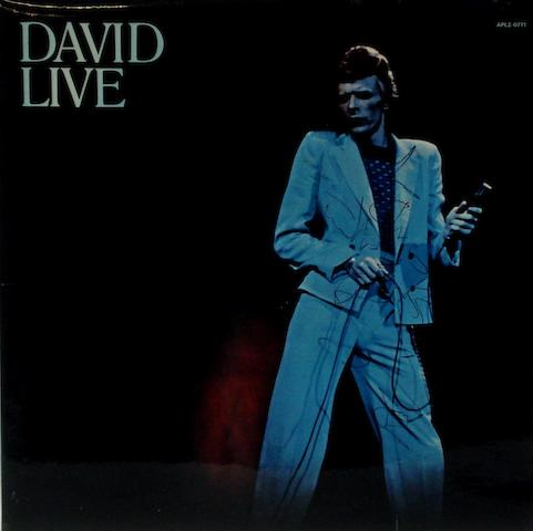 An autographed copy of the album 'David Live' by David Bowie,