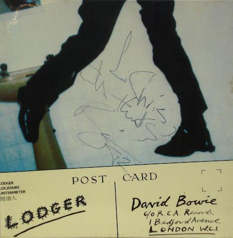 An autographed copy of the album 'Lodger' by David Bowie,