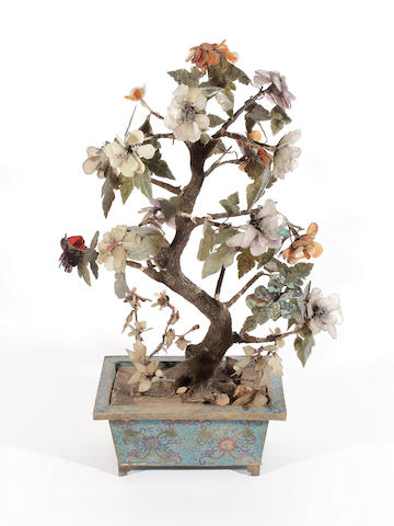 A Chinese cloisonné enamel and hardstone tree table ornament,