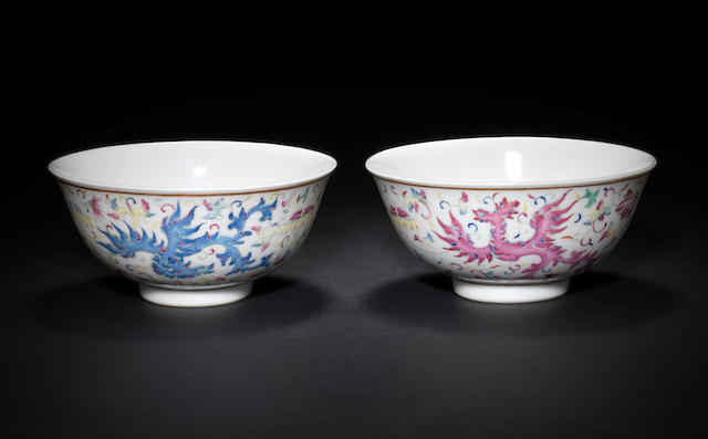A pair of famille rose bowls Guangxu six-character marks, and of the period