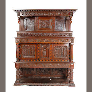 Good early 20th c 17th c style oak court cupboard